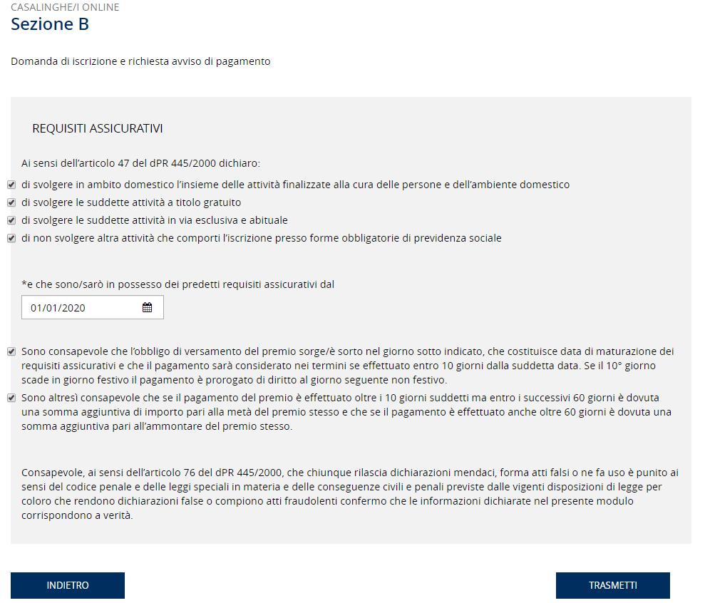 Accettare le condizioni per l'assicurazione contro gli infortuni domestici INAIL
