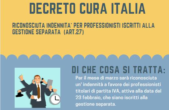Indennità per i professionisti riconosciuta dal decreto Cura Italia